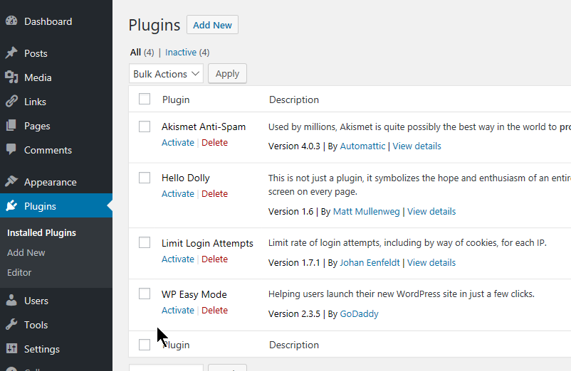 WordPress default plugins