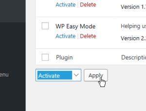 Activate selected Apply button
