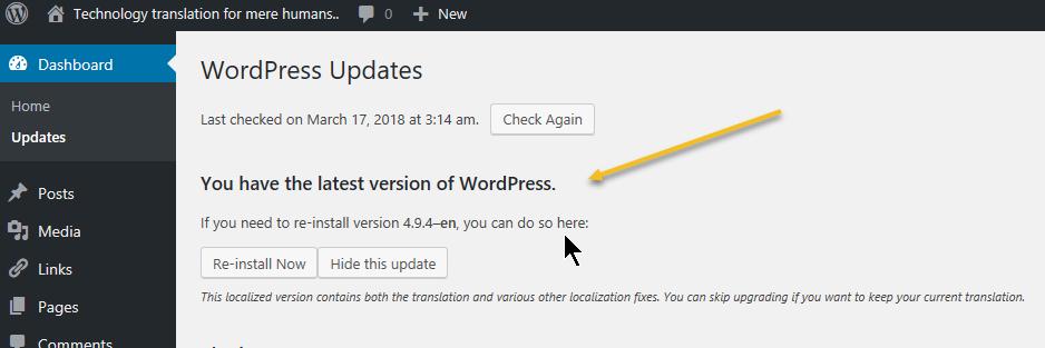 Administrators Desktop WordPress Update Status